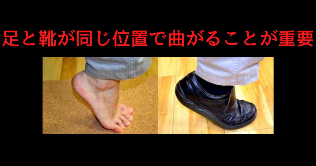 足と靴の屈曲位置